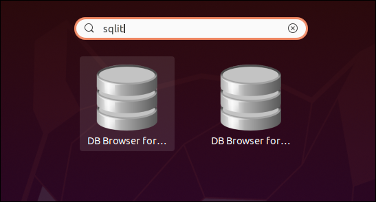 Two DB browser for SQLite icons in the search results.
