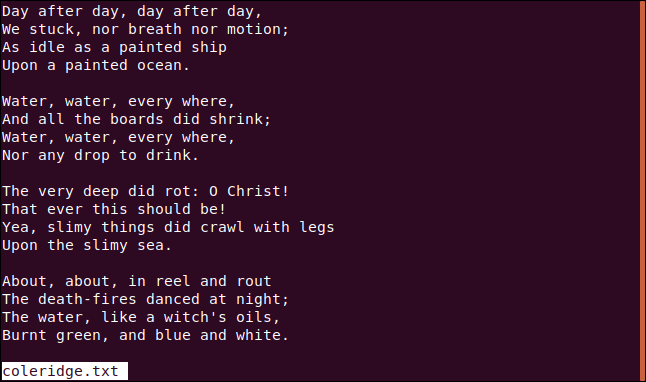 "The results from the ""less coleridge.txt"" command in a terminal window."