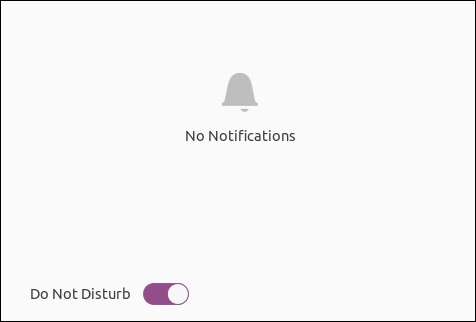 Ubuntu 20.04 notification area showing the global on off toggle for notifications