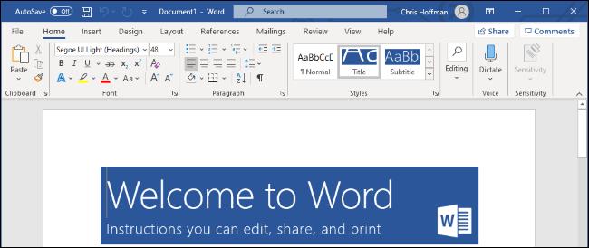 Microsoft Word on Windows 10