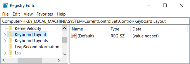 "The ""Keyboard Layout"" option in ""Registry Editor."""
