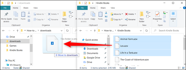 Click and drag the files over to the second window.