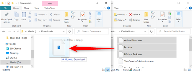 To move files to a a folder on a different drive, click and drag them, but before you drop, press Shift.