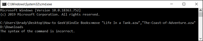 Using a comma to move more than one file does not work and Command Prompt will throw an error.