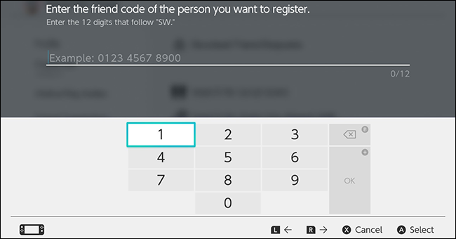 The Nintendo Switch friend code input screen.