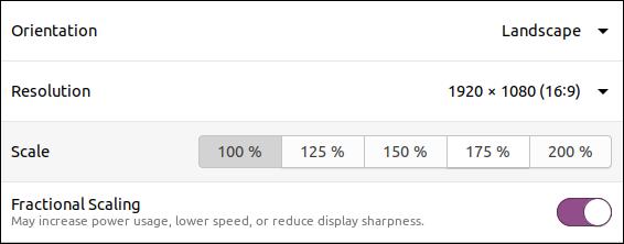 Ubuntu 20.04 fractional scaling set on