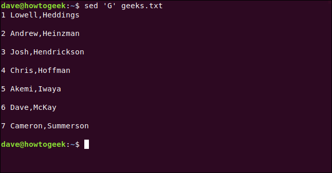 "The ""sed 'G' geeks.txt"" command in a terminal window."