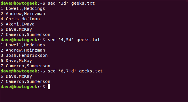 "The ""sed '3d' geeks.txt,"" ""sed '4,5d' geeks.txt,"" and ""sed '6,7!d' geeks.txt"" commands in a terminal window."
