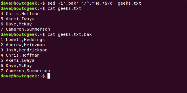 "The ""sed -i'.bak' '/^.*He.*/d' geeks.txt"" and ""cat geeks.txt.bak"" commands in a terminal window."