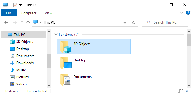 The 3D Objects folder in File Explorer