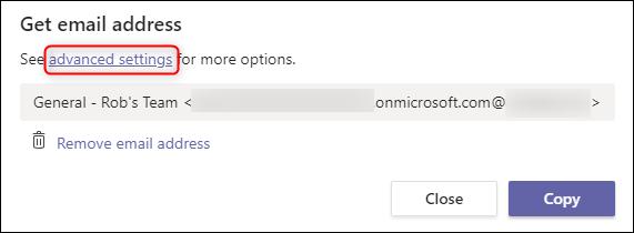 "The ""advanced settings"" option."