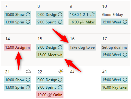 Calendar appointments from different calendars displayed with different colors.