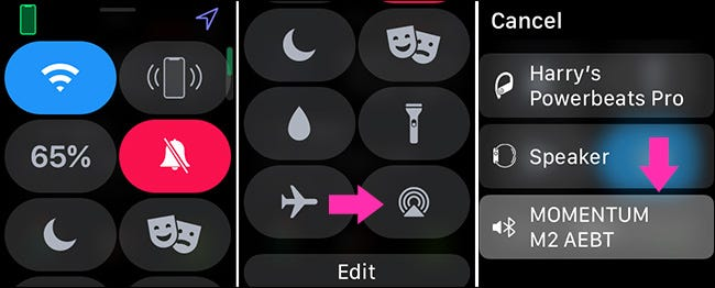 selecting an audio device on an Apple Watch