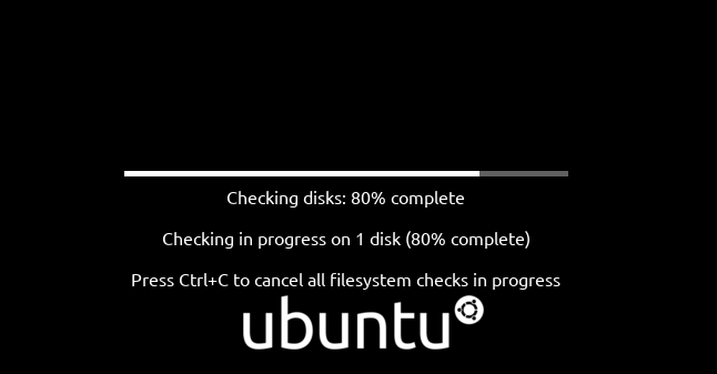 Ubuntu 20.04 hard dreive checking screen, showing progress bar and percentage completed