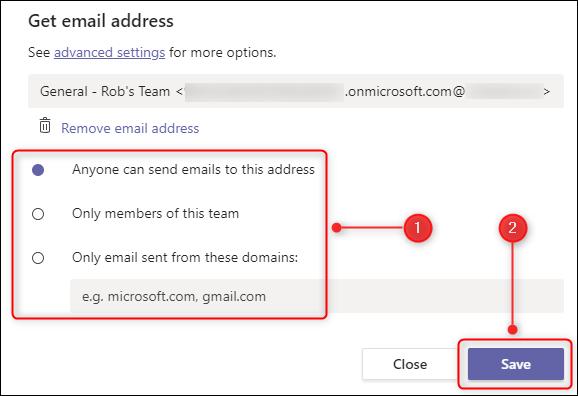 Las opciones sobre quién puede enviar correos electrónicos a los canales.