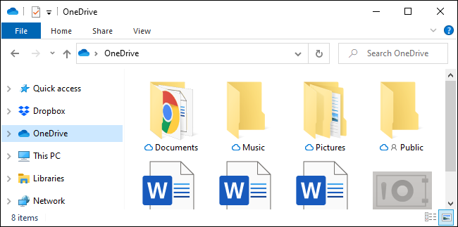The OneDrive sidebar folder in File Explorer
