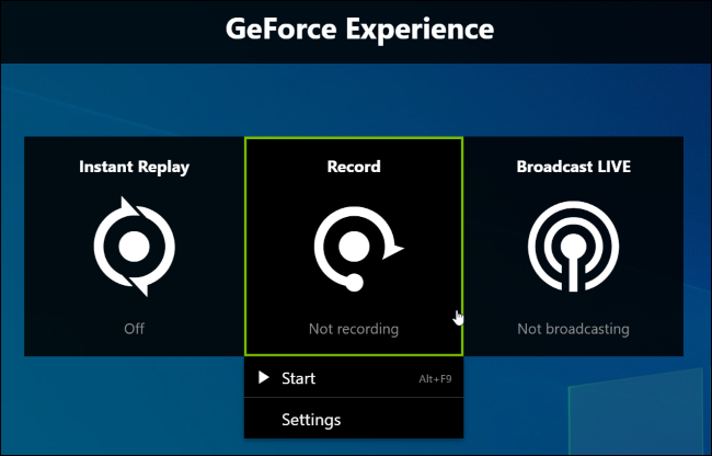 Turning on gameplay recording in NVIDIA Share