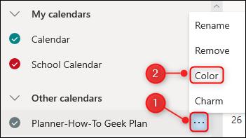 "The ""Color"" option for a calendar."