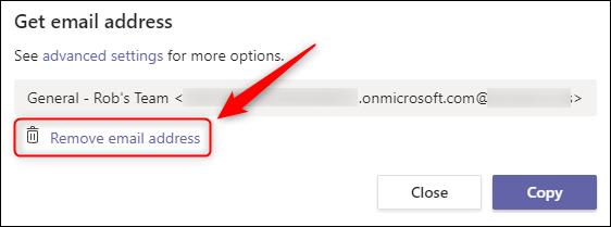 """La opción """"Eliminar dirección de correo electrónico""""."""