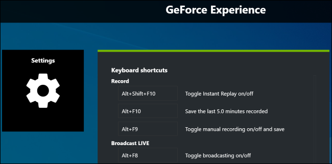 Changing keyboard shortcuts in GeForce Experience