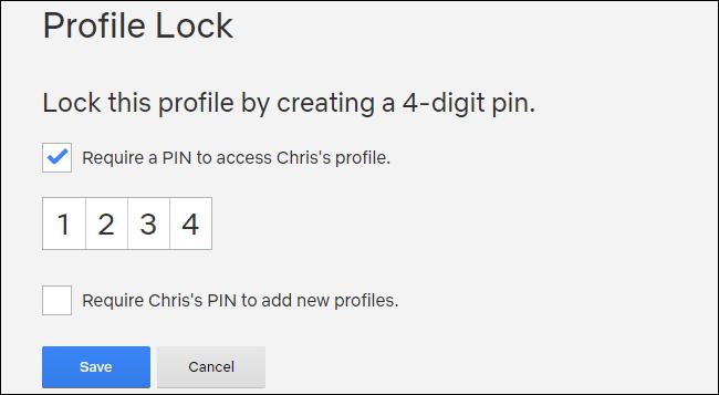 Creating a Netflix PIN