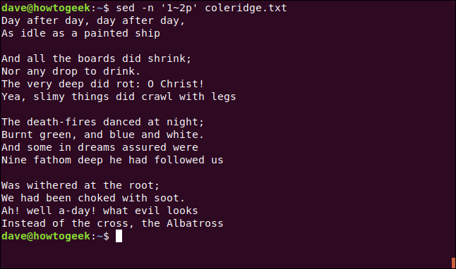 "The ""sed -n '1~2p' coleridge.txt"" command in a terminal window."