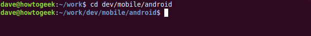 """The """"cd dev/mobile/android"""" command in a terminal window."""