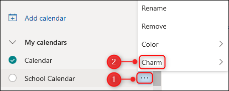"""The """"Charm"""" option for a calendar."""