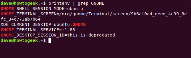 printenv | grep GNOME in a terminal window.