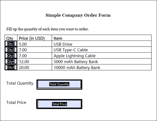 Order Form for Tech Company