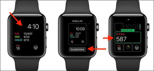 Tres relojes Apple con la complicación del podómetro ++ en la cara.