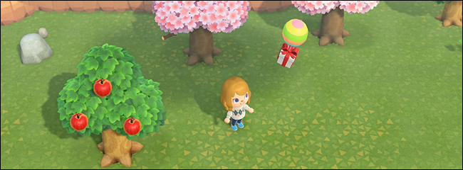 Shooting down a balloon with a slingshot in Animal Crossing.