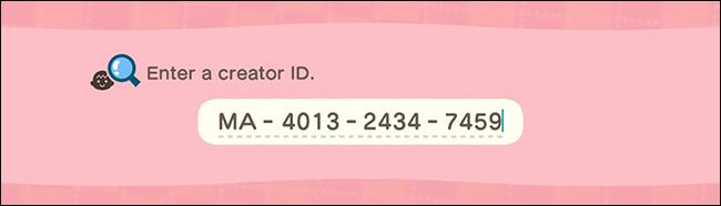 Animal Crossing New Horizons creator ID