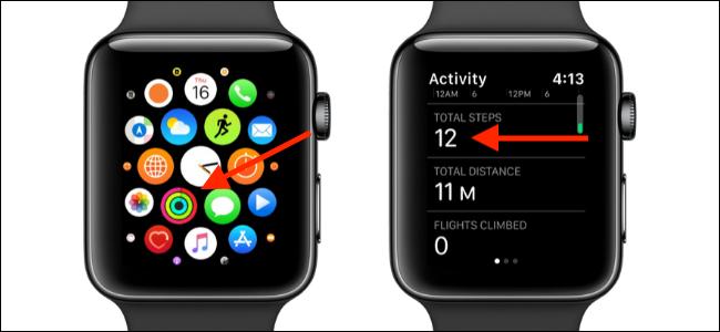 """Seleccione la aplicación """"Actividad"""" y luego desplácese hacia abajo en la sección """"Pasos totales""""."""