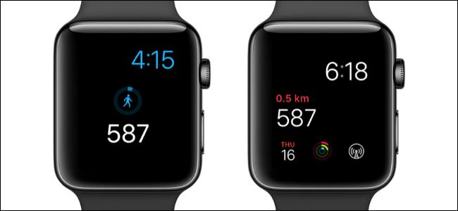 Dos relojes Apple que muestran el recuento de pasos en las esferas del reloj.