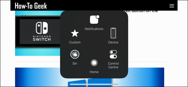 AssistiveTouch menu expanded