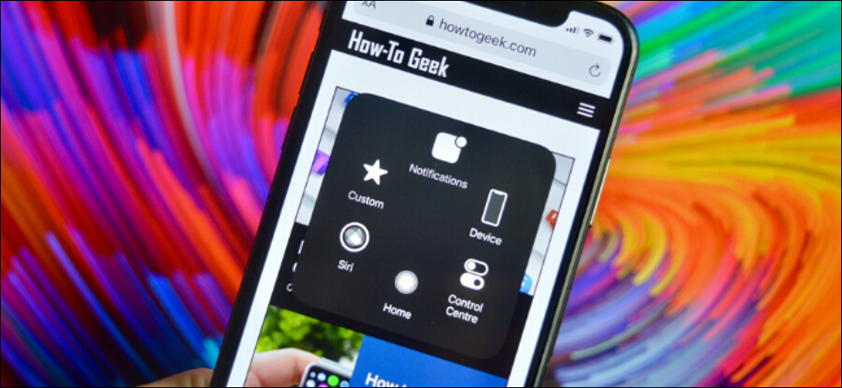 AssistiveTouch menu shown on iPhone