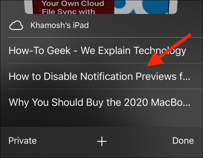 Choose an iCloud Tab from Safari tab switcher