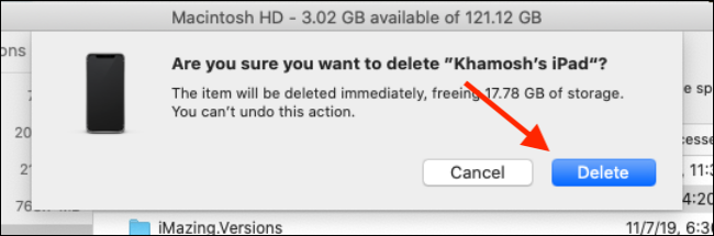 Click on Delete option from the storage management popup
