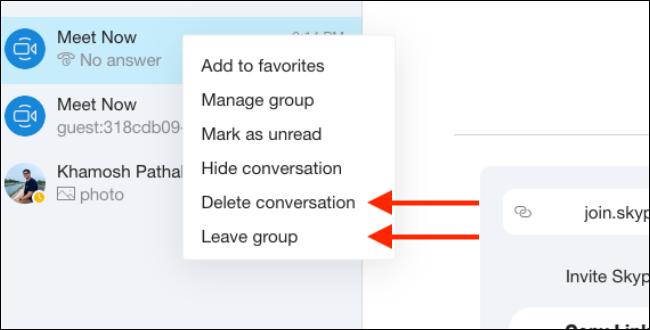 Clique em Excluir ou sair do Grupo