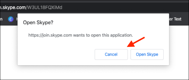 Click on cancel from Skype popup