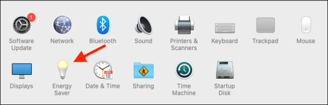 Click on the Energy Saver option from System Preferences