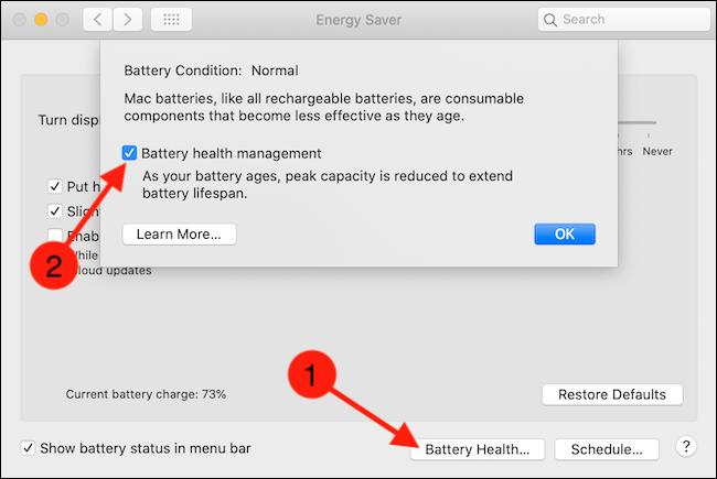 Haga clic en el botón Battery Health y luego desmarque la opción Battery Health Management