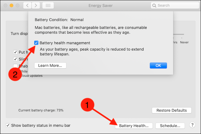 Click the Battery Health button and then uncheck the Battery Health Management option