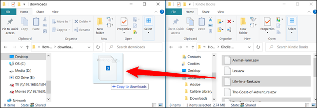 If you want to copy a file onto the same drive, press Ctrl before dropping it into the window.