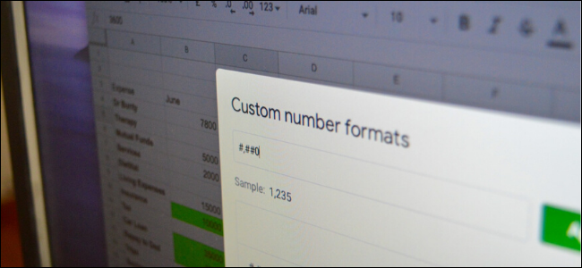 Custom Number Formats menu in Google Sheets on desktop