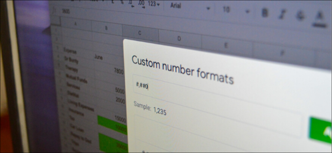 Custom Number Formats menu in Google Sheets on desktop