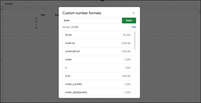 Custom Numbers windowCustom Numbers window