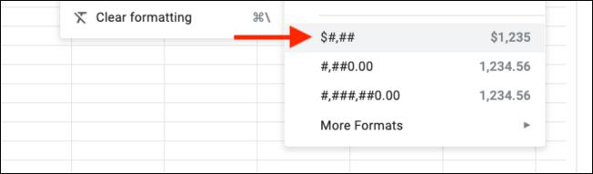 Custom formats added to format menu