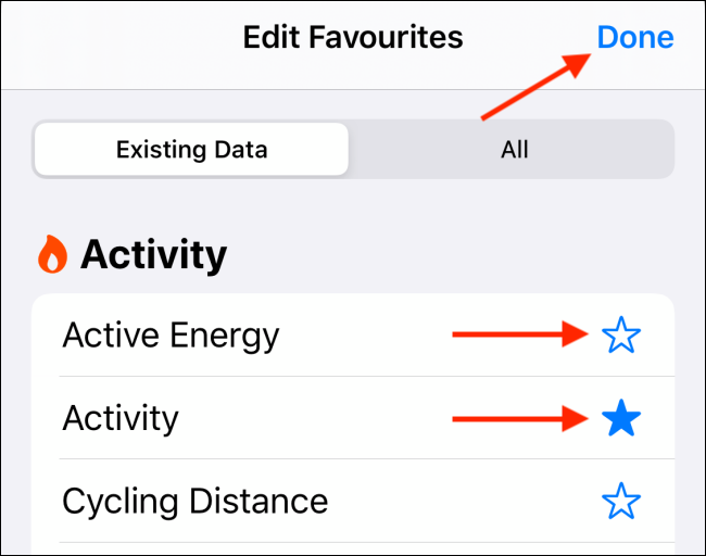 Customize the Favorites data and tap on Done